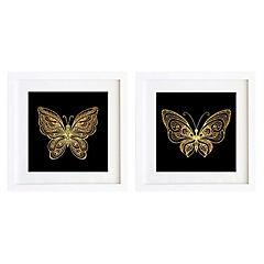 Set 2 cuadros 30x30 cm marco  mariposa