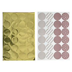 Pack 48 sticker decorativo multicolor rosado