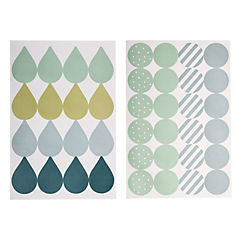 Pack 48 sticker decorativo multicolor celeste