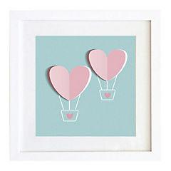 Cuadro 40x40 cm marco  globos corazón