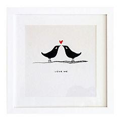 Cuadro 40x40 cm marco  pájaros beso