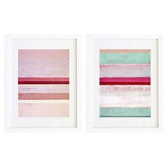 Set 2 cuadros 40x50 cm marco blanco abstracto rosa