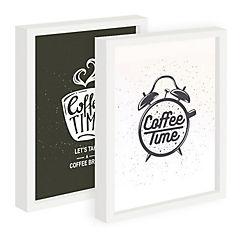 Set de 2 cuadros 22x27 cm marco  diseño coffe time