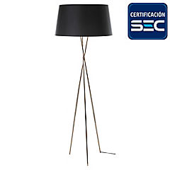 Lámpara de pie Trípode cobre E27 75W