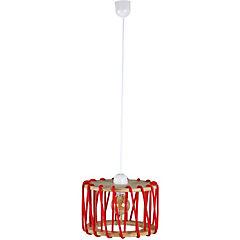 Lámpara de Colgar Madera Cuerda Roja E-27 60 W