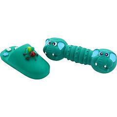 Pack juguetes mordedores con sonidos, hueso celeste - pantufla verde