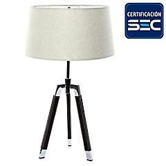Lámpara de mesa treo cromo ecocuero 2 luces E27 40W