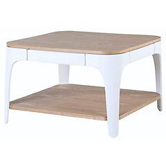 Mesa de centro 70x45 cm madera y blanco