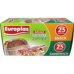 Bolsa europlas sandwich 25 undades + snack 25 unidades