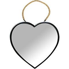Espejo corazón 30x36 cm negro