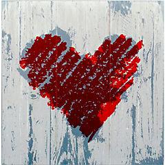 Pintura en madera corazón 30x30 cm