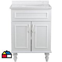 Mueble vanitorio 58x80x44 cm cubierta de marmol blanco