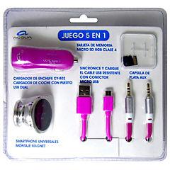Kit 5 en 1 microsd, soporte, cargador, cable microusb, cable aux rosa