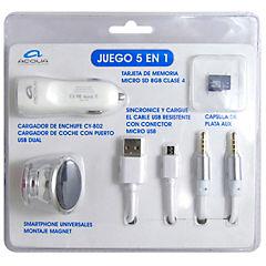 Kit 5 en 1 microsd, soporte, cargador, cable microusb, cable aux blanc