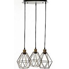 Lámpara de colgar Edison Geo bronce 3 luces  E27 40W