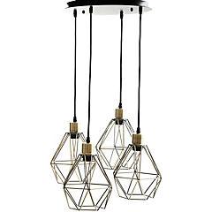 Lámpara de colgar Acero Edison Geo 4L Bronce envejecido