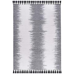 Alfombra handwoven Ikat 190x290 cm blanco y negro
