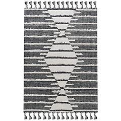 Alfombra handwoven Nepal 140x200 cm blanco y negro