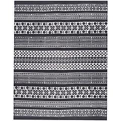 Alfombra Kelim Ethnic Diseños 140x200 cm negro y blanco