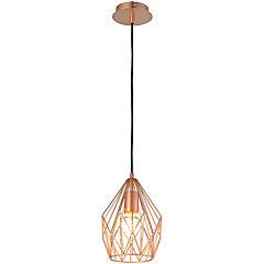 Lámpara colgante cobre 1 luz rejilla cer