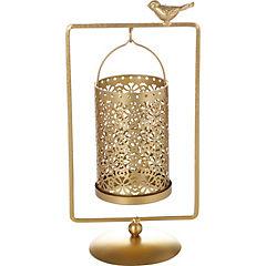 Portavela metálico doble dorado diseño geometrico 14x26x29 cm