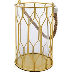 Portavela metálico dorado diseño bascket de 22 cm
