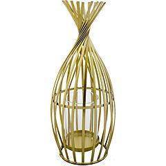 Portavela metálico dorado diseño clare 30 cm