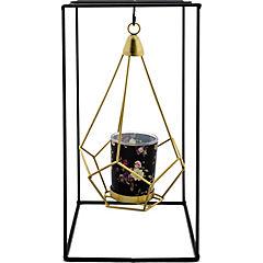 Portavela metálico geométrico dorado 27 cm