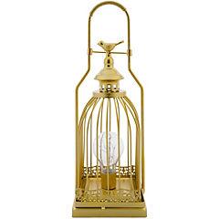 Farol metálico diseño bird gold de 38 cm