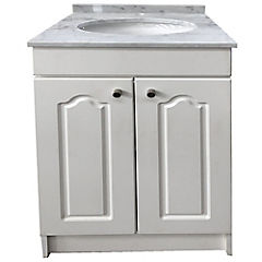 Vanitorio mármol  2 puertas termolaminadas blanca 62x50x87 cm