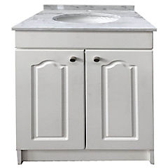 Vanitorio mármol  2 puertas termolaminadas blanca 52x50x87 cm