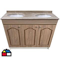 Vanitorio mármol puertas madera 122x50x87 cm
