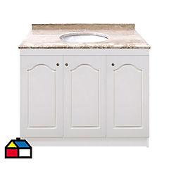 Vanitorio mármol 3 puertas lacadas blancas 92x50x87 cm