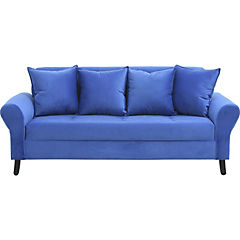 Sofá 3 cuerpos felpa azul rey
