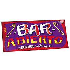 Cartel bar abierto rojo