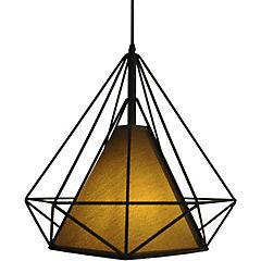 Lámpara de colgar Prisma pantalla café E27 80W