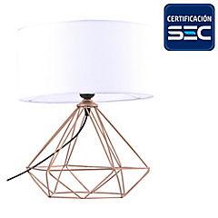 Lámpara de mesa geometrica cobre blanca 60W