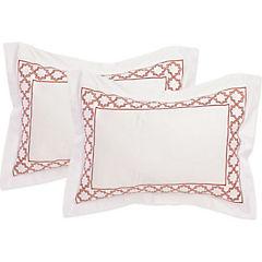 Set de Funda de almohada bordada Andalucia 220 hilos 50x70 cm rojo
