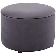 Puff redondo con baúl 60x45 cm gris