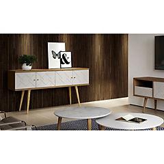 Buffet 152x38x77 cm Blanco/natural