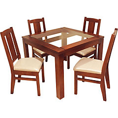 Juego de comedor 4 sillas 99x99x76 cm
