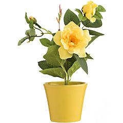 Arreglo rosas amarillas seda con base cerámica