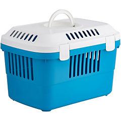 Jaula de transporte azul/blanco para animales