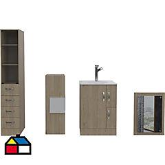 Kit Vanitorio + espejo+ estante+ lateral