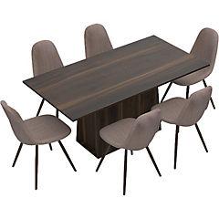 Juego de comedor 6 sillas Gris/Habano