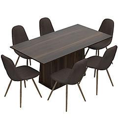 Juego de comedor 6 sillas Café/Habano