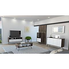 Rack + bar + bife + mesa centro habano/blanco 61x124x39 cm