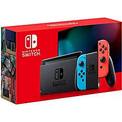 Consola Nintendo Switch azul y rojo neon
