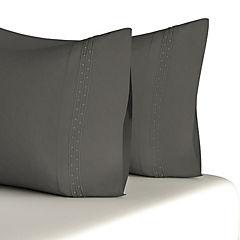 Set 2 funda bordado gris 180 hilos 50x75 cm