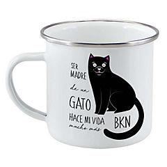 Tazón enlozado gato negro